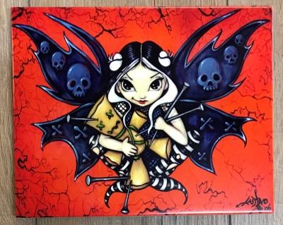 Keramik-Fliese mit Aufsteller - Fairy Voodoo 25x20cm - Jasmine Becket Griffith