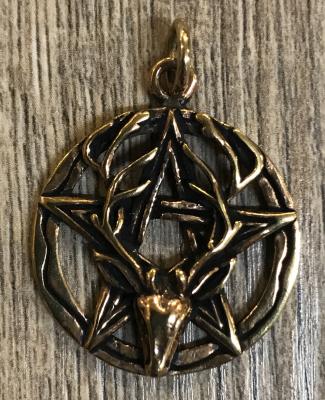Anhänger Pentagramm & Cernunnos/ Hirsch - bronze