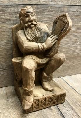 Statue - Bragi sitzend - Seated Bragi - Holzfinish - Dekoration - Ritualbedarf