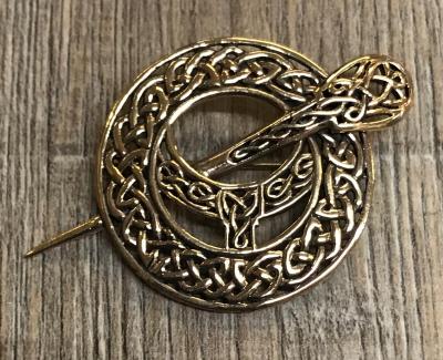 Brosche - keltisch - Fibel im Kreis mit keltischem Flechtmuster - Bronze