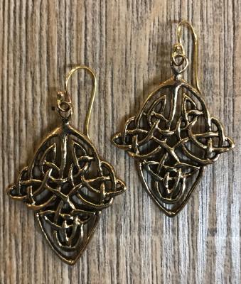 Ohrringe - Ohrhänger keltischer Knoten Raute - Bronze