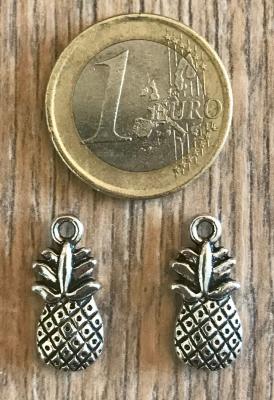 Anhänger - Charm - Ananas/ Pineapple - Zinklegierung -  Farbe: Silber