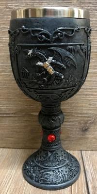Kelch mit Stahleinsatz - Drache mit rundem Standfuß - gothik