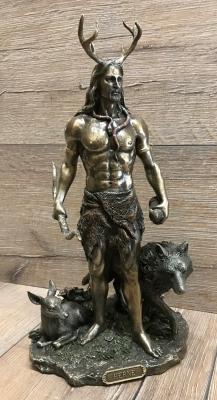 Statue - Herne/ Cernunnos stehend mit Tieren - Der Gehörnte Gott - Dekoration - Ritualbedarf