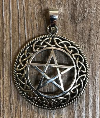 Anhänger - Pentagramm mit keltischem Flechtkreis - 925er Silber