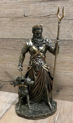Statue - Hades mit Zweizack & Cerberus - griechischer Gott der Unterwelt- Dekoration - Ritualbedarf