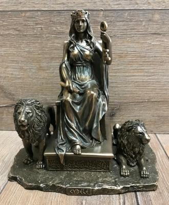 Statue - Cybele mit Löwen - griechische Göttin - die Große Göttermutter - Dekoration - Ritualbedarf
