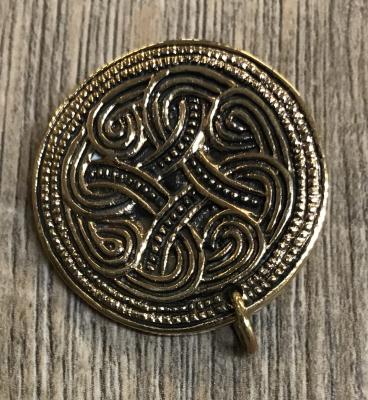 Brosche - keltisch rund mit kleinem Ring für Gehänge - Bronze