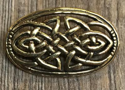 Brosche - oval keltischer Knoten durchbrochen 4cm x 2,5cm - Bronze