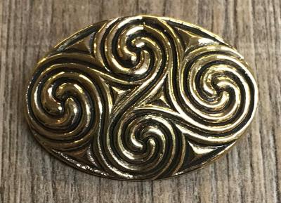 Brosche - oval vierer Spirale 4cm x 2,5cm - Bronze