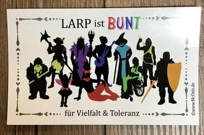 Aufkleber - Auto/ Außen - LARP ist BUNT - für Vielfalt & Toleranz