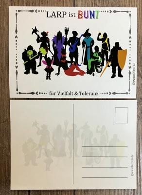 Postkarte - LARP ist BUNT - für Vielfalt & Toleranz
