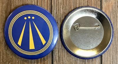 Button 59mm - AWEN - OBOD Druiden Symbol - blau
