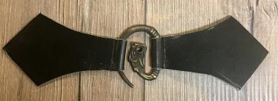 Mantelschließe Drache mit Leder - schwarz
