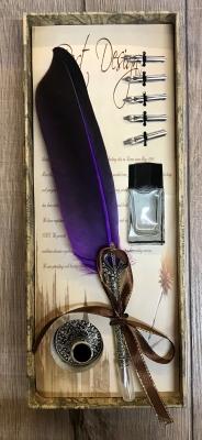 Schreibzeug - Historische Schreibfeder inkl. 6 Federn, Halter & Tintenfass (leer), geliefert in Geschenkbox - purpur/ lila