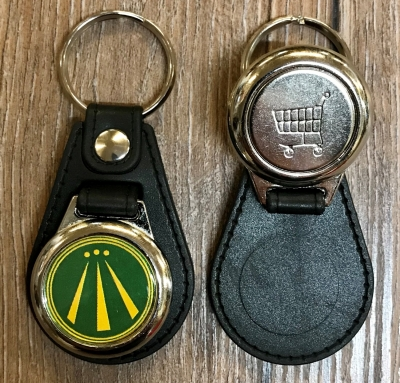 Schlüsselanhänger - Metall & Kunstleder inkl. Einkaufswagenchip - Motiv OBOD AWEN - grün