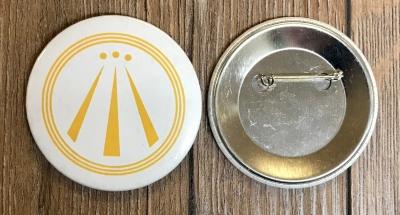 Button 59mm - AWEN - OBOD Druiden Symbol - weiss