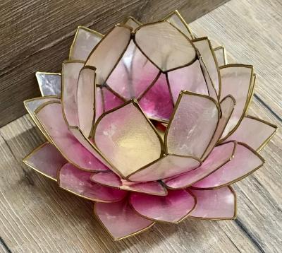 Kerzenhalter - LotusBlume -  Atmospherisches Licht rosa/ hell-rosa gold 15cm x 15cm - groß