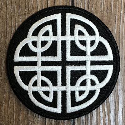Aufnäher - gestickt - keltischer Knoten - schwarz-weiß