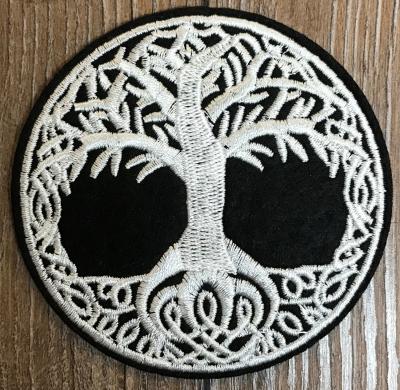 Aufnäher - gestickt - keltischer Lebensbaum - schwarz-weiß