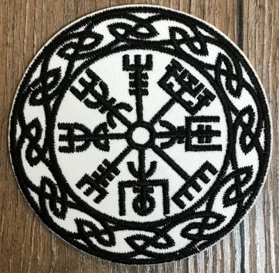 Aufnäher - gestickt - Vegvisir/ nordischer Kompass - schwarz-weiß