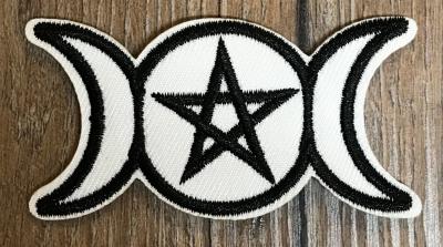 Aufnäher - gestickt - Göttinnen Pentagramm/ Tripple Moon/ Dreifacher Mond - schwarz-weiß
