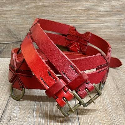 Gürtel - Leder - Twin Belt - 120cm - rot