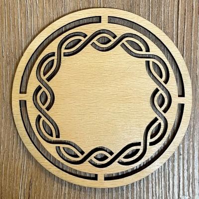 Untersetzer - Holz - durchbrochen - Keltischer Flechtkreis rund - 10cm - natur - Coaster - Dekoration - Weihnachtsbaumschmuck