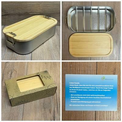 To-Go - Eco Click Lunchbox Weißblech mit Bambusdeckel - 750ml - Sammelbestellung möglich ab 7,95€ netto