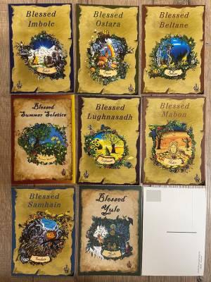 Postkarte - Jahreskreis - Alle 8 Jahreskreiskarten im Set (Yule, Imbolc, Ostara, Beltane, Litha, Lughnasadh, Mabon, Samhain)