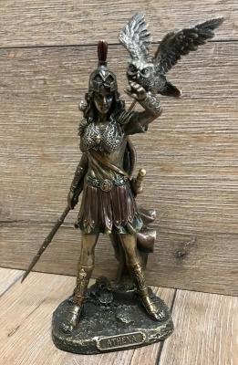 Statue - Athene mit Eule, Schild & Helm -  griechische Göttin des Krieges, des Handwerks & der Handarbeit - Dekoration - Ritualbedarf - Ausverkauf