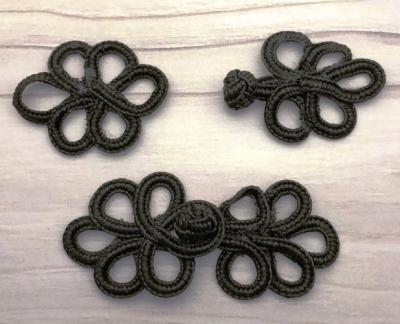 Schließe Posamenten Knebel Ornament - Frog Verschluss/ Closures - schwarz