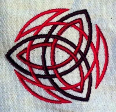 Umhänge- Tasche natur - Trinity/ Triquetra - rot