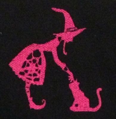 Umhänge- Tasche schwarz - Hexe & Katze / Witch & Cat - lila