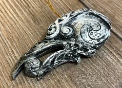 Plaque - Wandtafel - Wandschmuck - Raben Kopf - Raven head- Silberfinish - Ausverkauf