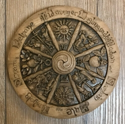 Plaque - Wandtafel - Wandschmuck - Jahresrad klein - Small Wheel of the year - Holzoptik