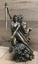 Statue - Nemesis - griechische Göttin des gerechten Zorns - bronziert - Dekoration - Ritualbedarf