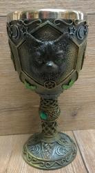 Kelch mit Stahleinsatz - Black Cat mit Pentagramm