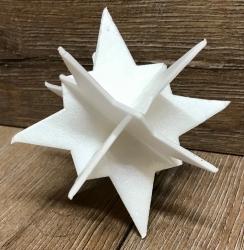 3D Stern weiß Größe A2 - ca. 11,5cm hoch - 5er Set