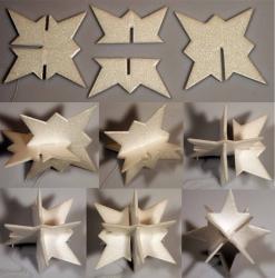 3D Stern weiß Größe A3 - ca. 15,5cm hoch - 5er Set