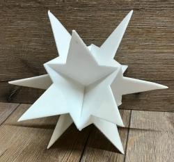 3D Stern weiß Größe A5 - ca. 21cm hoch - 5er Set