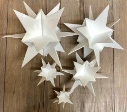 3D Stern weiß Größe A6 - ca. 24cm hoch - 5er Set