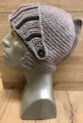 Häkel- Mütze - Ritter Helm mit Visier - grau/schwarz - handmade - Herbst/ Winter Kopfbedeckung - Beanie