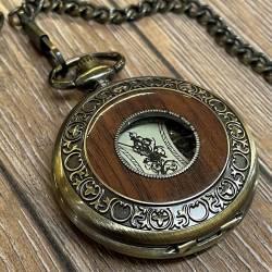Uhr - mechanische Taschenuhr Steampunk mit Holzinlay und Kette