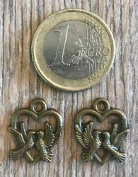 Anhänger - Charm - Herz mit Tauben - Farbe: Antik Bronze
