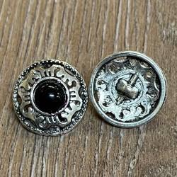 Knopf Metall - Ornament durchbrochen mit schwarzer Glasperle - 19mm - silber