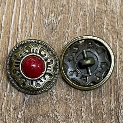 Knopf Metall - Ornament durchbrochen mit roter Glasperle - 19mm - Antik Bronze
