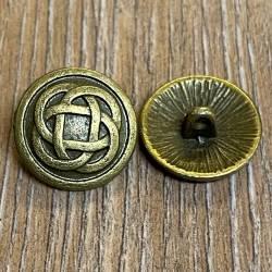 Knopf Metall - keltischer Knoten - 15mm - Antik Bronze