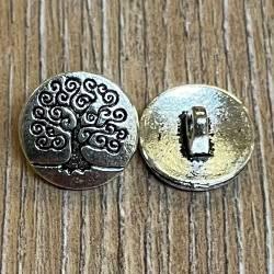 Knopf Metall - Lebensbaum - 14mm - silber