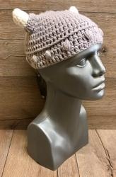 Häkel- Mütze - Wikinger mit Hörnern Gr. S 54-56cm - grau/weiß - handmade - Herbst/ Winter Kopfbedeckung - Beanie